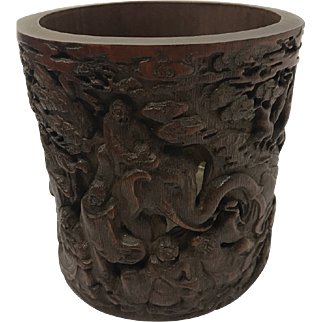 Beautiful Chinese Antique Hand Carved Bamboo Brush Pot
