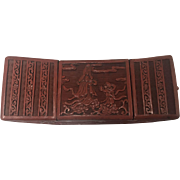 19th Hand Carved Chinese Red Cinnabar Lacquer Box