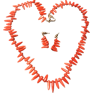 Stunning Vintage 1930s Red Coral Branch Necklace Earrings Set
