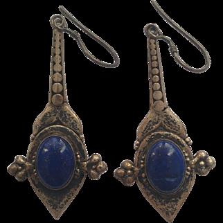 1970's Silver and Lapiz lazuli earrings