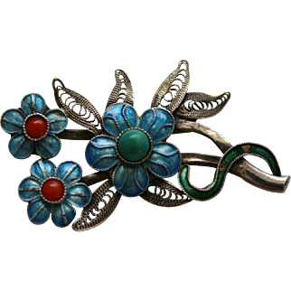 1960s enamel flower Brooch With Silver Backing
