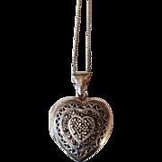 Sterling Silver .925 Marcasite Heart Locket