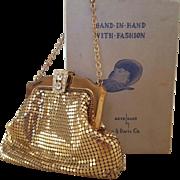 Whiting and Davis Gold Mesh Handbag With Rhinestone Clasp circa 1950s