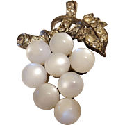 Moonglow White Grapes Cluster Brooch