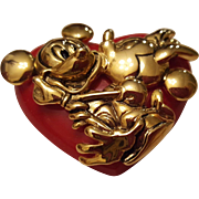 Mickey and Minnie Heart Pin by Napier For Disney
