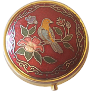 Vintage Pill Box with Enamel Flowers and Bird Design