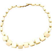 "Miriam Haskell ""Milk Glass"" Necklace with Square Beads"