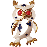 Trifari Crown Owl Brooch Pet Series Circa 1960s