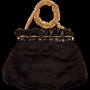 """Black Satin """"Made In Italy"""" handbag by Bally"""