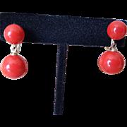 Red Screw-Back Earrings