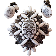 Juliana Brooch Stone with Floral Transfers circa 1970