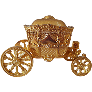 Gold Tone Carriage Ring Box