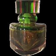 Murano Glass Perfume Bottle Triangular Shape Circa 1950s