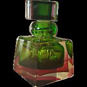 Murano Glass Perfume Bottle Square Shape Circa 1950s