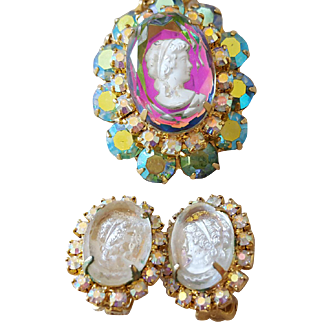 Juliana Lavaliere Cameo Brooch and Earrings 1963 with Book References