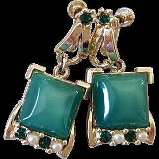 Vintage Screw-back Earrings with Green Moonglow Drop