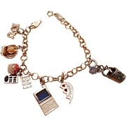 Sterling Silver Charm Bracelet with a Mother's Theme circa 1980s