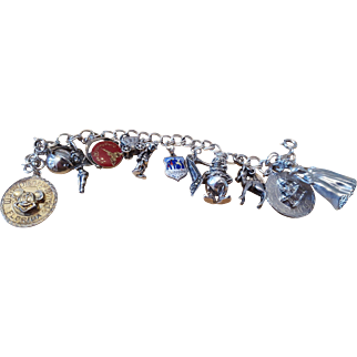 Sterling Silver Vintage Disney Themed Charm Bracelet with 12 Charms