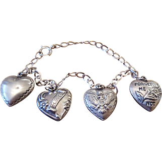 Sterling Silver Puffy Heart Charms on Gold Filled Bracelet circa 1930-1950