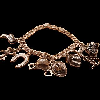 Sterling .925 Western Themed Charm Bracelet