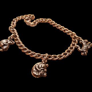 Van Dell Winnie Pooh Sterling Charm Bracelet