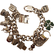 Rare Original Napier Sterling Silver Charm Bracelet with Soldered Charms