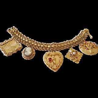 14 karat Gold Charm Bracelet circa 1950s