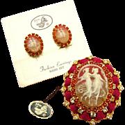 D&E Juliana Cameo Swarovski rhinestone Jewelry demi Parure