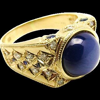 Custom Mens Star Sapphire, Sapphire and Diamond 14 Karat yellow gold ring