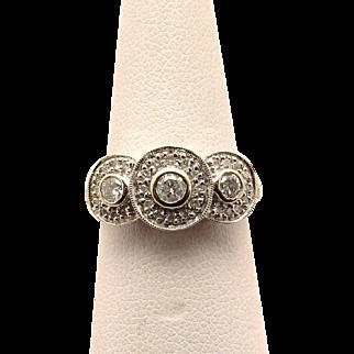 Triple Halo 14K white Gold Diamond engagement wedding ring