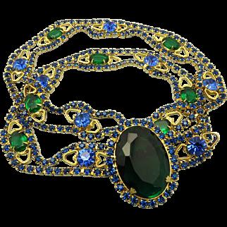 DeLizza & Elster Juliana Capri Blue & Emerald Green Rhinestone Belt