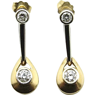 14 K Yellow and White Gold Diamond Earrings