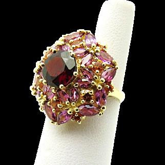 Natural Rhodalite, Spessartine and Alamandine Garnet 14K gold Cluster Ring