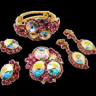 Delizza & Elster AB Rivoli and Rose Swarovski Rhinestone cuff, dangle/clip earrings, brooch demi Parure