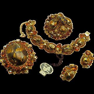 DeLizza & Elster Juliana Gold fluss and Topaz rhinestone bracelet, earrings, brooches demi parure