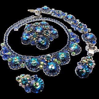 DeLizza & Elster Juliana Bermuda Blue Margarita Rhinestone jewelry Parure