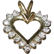 Vintage 10k Diamond Heart pendant .75tcw