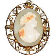 Lovely 10k Conch Shell Cameo Pin/Pendant open work with seed pearls