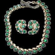 Beautiful Vintage Lisner green Aurora Borealis Demi Parure Lisner Necklace & Earrings