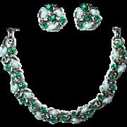 Beautiful Green & white Lisner Demi Parure Necklace & Earrings
