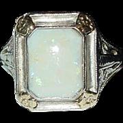 LaFrance 14k White Gold Opal Art Deco Filigree Ring