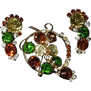 Vtg Hobe pin & earring set Signed Hope Demi Parure Lots of Bling