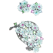 Vintage Lisner pin & Earrings Floral Demi Parure signed Lisner