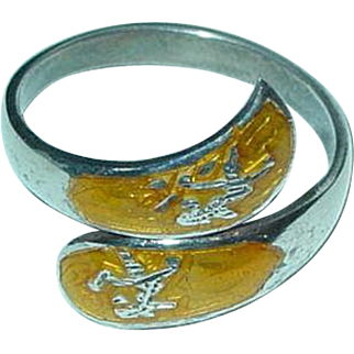 Sterling silver Siam yellow enamel ring Bypass sterling ring