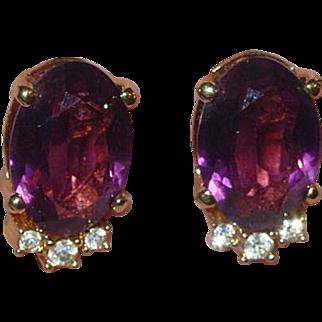 Vintage Christian Dior Purple Rhinestone Clip Earrings