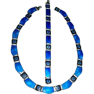 Mid Century David Andersen Sterling Enamel Necklace & bracelet Sterling Norway Cobalt Blue