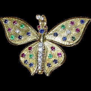 Exceptional Vintage 18k Diamond,Emerald,Ruby & Sapphire Brooch 1.74tcw
