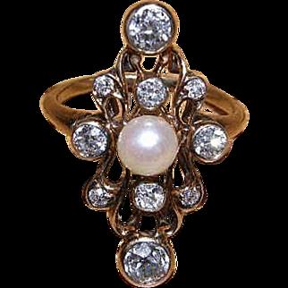 Antique Art Nouveau Diamond Ring 14k Diamond & pearl ring Stunning