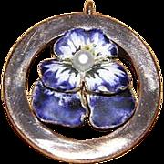 Antique Art Nouveau 14K Gold Enamel Pearl Pansy Pendant - Red Tag Sale Item