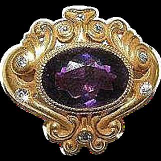 Stunning 14k Amethyst & Diamond Brooch/Pin plus watch hook on back
